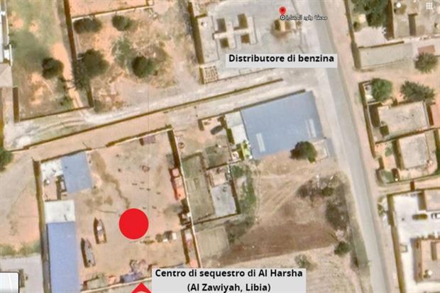 La mappa del piccolo regno di Haithem, il centro dove vengono sequestrati i migranti finiti in trappola e la pompa di benzina